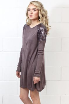Sequin Shoulders Hacci Sweater Dress {Cocoa}