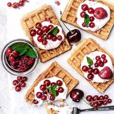 Vegan Waffles With Coconut Whip And Berries