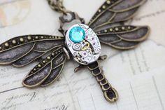 Steampunk Necklace Steam Punk Dragonfly Necklace Jewelry - Vintage Elgin Watch - Blue Zircon Swarovski Crystal on Etsy, $45.00