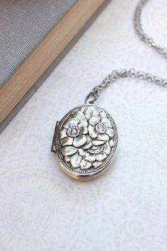 Silver Locket Necklace Antique Silver Floral