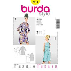 Burda Style Dress Striking prints and trumpet style sleeves or shoulders left exposed, and elegant with fancy braid. Both variants reflect the spirit of the and still deserve special attention. Burda Sewing Patterns, Vintage Sewing Patterns, Clothing Patterns, Dress Patterns, Style Patterns, Sewing Ideas, Paper Patterns, Pattern Dress, Sewing Tips