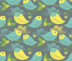 Birds in the Clouds fabric by candytree on Spoonflower - custom fabric