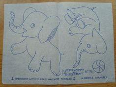 Vintage Embroidery Pattern Transfer  - Elephants