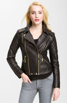 Sam Edelman Quilted Leather Moto Jacket   Nordstrom