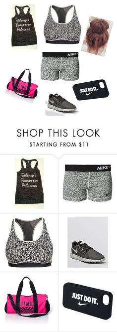 """""""Workout"""" by manad ❤ liked on Polyvore featuring NIKE, Victoria's Secret PINK and plus size clothing"""