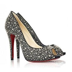 Christian Louboutin Peep Toe Stiletto Heel Black Patent Leather Beaded Pumps. Please visit www.christianloub...