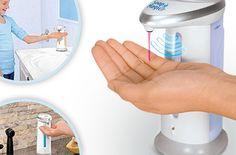 Dozownik z czujnikiem na podczerwień poda odpowiednią ilość płynu gdy tylko podstawisz rękę. Niezwykle higieniczny gadżet! Możesz go wykorzystać do mydła do rąk, żelu pod prysznic, czy płynu do mycia naczyń. Możesz kupić i wykorzystać dowolną liczbę bonów i kupić dozowniki do kuchni i łazienki. Dozownik jest podświetlany od wewnątrz, dzięki czemu wygląda niesamowicie.
