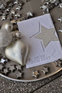 Stembelsche: * litter glitter on it . Paper Cards, Diy Cards, Stampin Up Christmas, Christmas Crafts, Paper Games For Kids, Stampin Up Weihnachten, Karten Diy, Star Cards, Handmade Tags