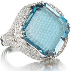 One of a kind emerald cut aquamarine 'Valentina' ring mounted above a bed of pave-set round, brilliant diamonds set in white gold with additional round, brilliant diamonds by Paolo Costagli New York. Ear Jewelry, Sea Glass Jewelry, High Jewelry, Diamond Jewelry, Jewelry Gifts, Jewellery, Silver Pendant Necklace, Sterling Silver Necklaces, Silver Rings