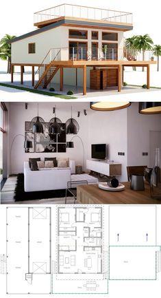 Architecture, House Designs, Home Plans, Beach house plans - Architektur Coastal House Plans, Beach House Plans, Modern House Plans, Coastal Homes, Unique House Plans, Modern Garage, Tiny House Design, Modern House Design, Beach House Designs