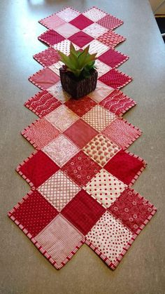 Valentine's table runner, Patchwork, Zig Zag Runner, ready to ship! https://www.etsy.com/listing/572827382/valentines-table-runner-patchwork-zigzag