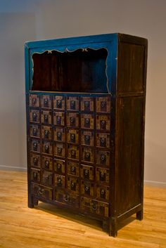 SHANXI APOTHECARY CABINET Late 19th Century 39 drawer Apothecary cabinet with upper shelf and all original paint