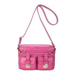 rose red leather shoulder bag