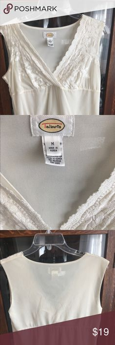 Talbots Ivory Lace Mesh Surplice Top Beautiful mesh surplice blouse with lace accents. Like new! True to size. Check out the rest of my closet - I offer 30% off bundles of three or more items! Talbots Tops