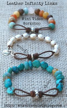 Jewelry Making Bracelets Leather Links video workshop by Tracy Statler. How to make her cool infinity leather link components for jewelry. Leather Jewelry, Wire Jewelry, Jewelry Crafts, Jewelry Art, Beaded Jewelry, Leather Bracelets, Jewelry Ideas, Fashion Jewelry, Leather Bracelet Tutorial