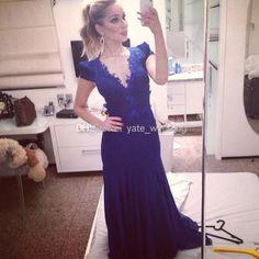 Wonderful V Neck Short Sleeves Backless Prom Dresses