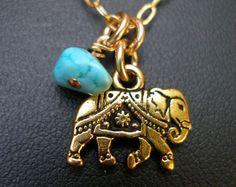 Elephant Necklace~  Friendship Genuine Turquoise Jewelry  India Soul Namaste…