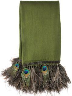 Anna Trzebinski deep olive cashmere shawl with peacock and ostrich trim $1,500.00