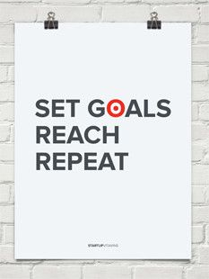 """Set Goals. Reach. Repeat.""  Poster and other cool office products http://www.startupvitamins.com/"