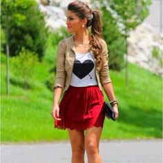 Cute valentines day outfit. But I would do a long red maxi and a cap sleeved t with the black heart