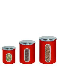 Honey-Can-Do Nested Metal Storage Canister Set Red Storage and Organization Cabinet and Kitchen Organizers Storage Canisters Metal Storage Containers, Storage Canisters, Kitchen Storage, Food Storage, Kitchen Organizers, Kitchen Organization, Kitchen Canister Sets, Coffee Canister, Coffee Cups