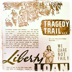 """Tragedy Trail... We Dare Not Fail"" as advertised in The North Midland Times in March 1942 #WW2 #history"
