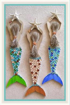 Mermaid Carved from Reclaimed Wood Hand Decorated and Painted / Rose Art Works via easy--inspiration -- ideaMermaid Carved from Reclaimed Wood- add real starfish and sea glass found at the beach to remember a vacationBright and Lovely Mermaid wall ha Mermaid Crafts, Seashell Crafts, Beach Crafts, Mermaid Art, Wood Crafts, Diy And Crafts, Crafts For Kids, Arts And Crafts, Summer Crafts