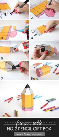FREE printable Pencil Gift Box