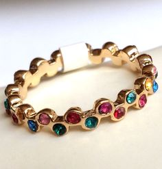 Gold Eternity Ring Band Plated Multicolor Crystal Thin Stackable Size 7 USA #Unbranded #Eternity
