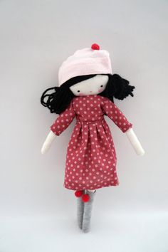 Meet Sara!    She is an adorable doll, ooak, with a polka dot dress, hat with pompom and socks!  She is around 10 inches (26 cm).    thanks for