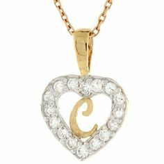 14K Gold Letter 'C' CZ Initial Heart Charm Pendant Jewelry Liquidation. $92.53. Made in USA!. Made with Real 14k Gold