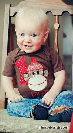 Sock Monkey Brown Birthday Shirt  Custom by mimisbabies on Etsy, $32.95