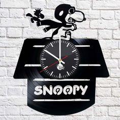 SNOOPY Handmade vinyl record modern vintage unique big decorative wall clock