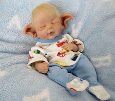 """"""" Vinny"""" 6 5"""" Polymer Clay Baby Troll Elf OOAK by Ursula"""