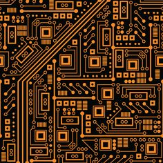 Evil Robot Circuit Board (Orange) fabric by robyriker on Spoonflower - custom fabric