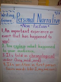 Personal narrative - a good example that teachers can use are the Chicken Soup series for children/ teens as they are powerful messages and stories, told within a couple of pages.