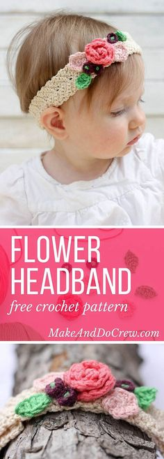This free crochet flower headband pattern is surprisingly easy and it makes an adorable acccessory for a young flower girl in a wedding (or a bohemian beauty of any age)! Sizes include newborn, baby, toddler, child, teen and adult. Crochet Headband Free, Crochet Flower Headbands, Crochet Flower Patterns, Crochet Baby Hats, Crochet For Kids, Baby Patterns, Easy Crochet, Crochet Flowers, Headband Baby