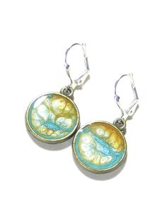 Turquoise Topaz Painted Disc Dangle Earrings by JKCJewelry on Etsy