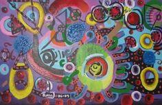 "GALACTIC AVOCADO 20"" x 30"" acrylic on canvas"