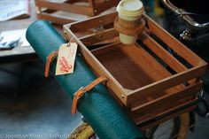 wood bike crate with cup holder and yoga mat straps! BikePortland.org