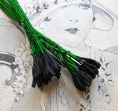 Antique Millinery Black Green Stamens Tulip Lily Paris Silk Artificial Flowers Vintage Doll Hat Trim Decoration Ribbon Work DIY Craft 24Ps by MillineryJewellery on Etsy