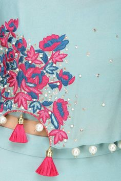 MONIKA NIDHII presents Frost blue rosette motif embroidered cape with matching skirt available only at Pernia's Pop Up Shop. Embroidery Dress, Hand Embroidery, Machine Embroidery, Embroidery Designs, Kurta Designs, Blouse Designs, Saree Accessories, Crop Top Designs, Saree Tassels