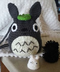 Crochet Totoro Drawstring Bag w/ Chibi Totoro (Tiny White One) and Dust Bunnies