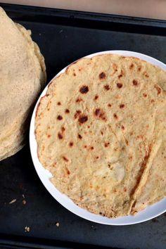 Chickpea Tortillas (using garbanzo bean flour).  Just flax seed, garbanzo bean flour, water and seasonings!.