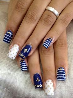 The Deep Winter Nail Art Designs are so perfect for Hope they can inspire you and read the article to get the gallery. Winter Nail Designs, Colorful Nail Designs, Nail Art Designs, Cruise Nails, Vacation Nails, Winter Nails, Summer Nails, Anchor Nails, Nautical Nails