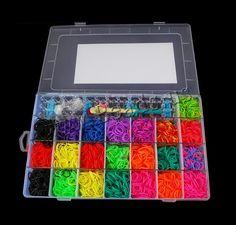 Kit de métier à tisser colorés, caoutchouc, avec PVC souple & plastique, rectangle, synthétique, avec cadre bracelet de tissage & avec la fronde & attachted crochet & S avec agrafe & pour les enfants, multicolore, 345x220x50mm,1x16mm, Trou:Environ 2x6mm, Environ 4400PC/boîte