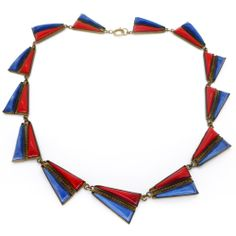 Image of Vintage Czech Art Deco Two Tone Triangle Glass Lapis Red & Blue Necklace