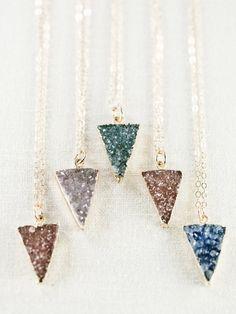 Kei necklace gold druzy pendant necklace by www.kealohajewelry.com