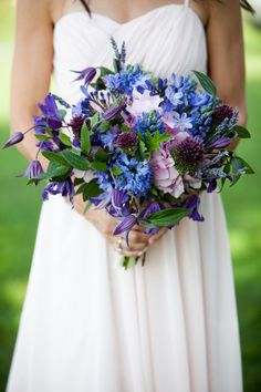 Claire Bean Floral & Event Design  Roberto Falck photography - bridal bouquet of hydrangea, purple clematis, blue hyacinth, drumstick allium, agapanthus, and lavender