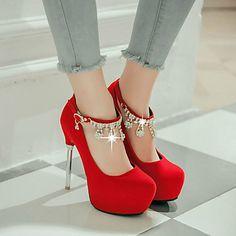 Women's Heels Spring Summer Fall Platform PU Dress Casual Party & Evening Stiletto Heel Buckle Black Red White 5432142 2017 – $58.62